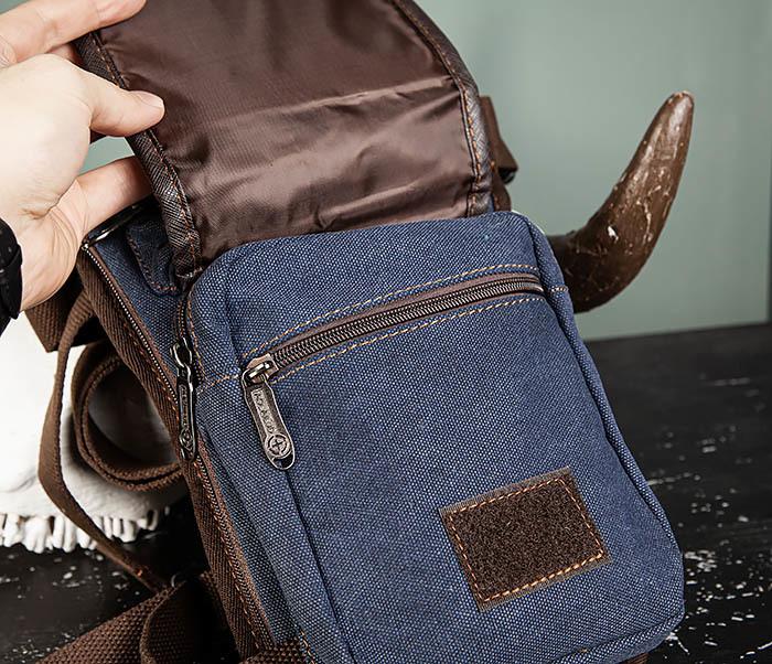 BAG506-3 Небольшая сумка на бедро из текстиля синего цвета фото 10