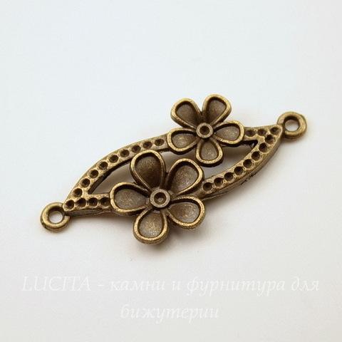 """Коннектор """"Два цветка"""" (1-1) 37х18 мм (цвет - античная бронза)"""