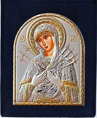 Семистрельная икона. Маленькая серебряная икона Божьей матери в бархатном футляре.