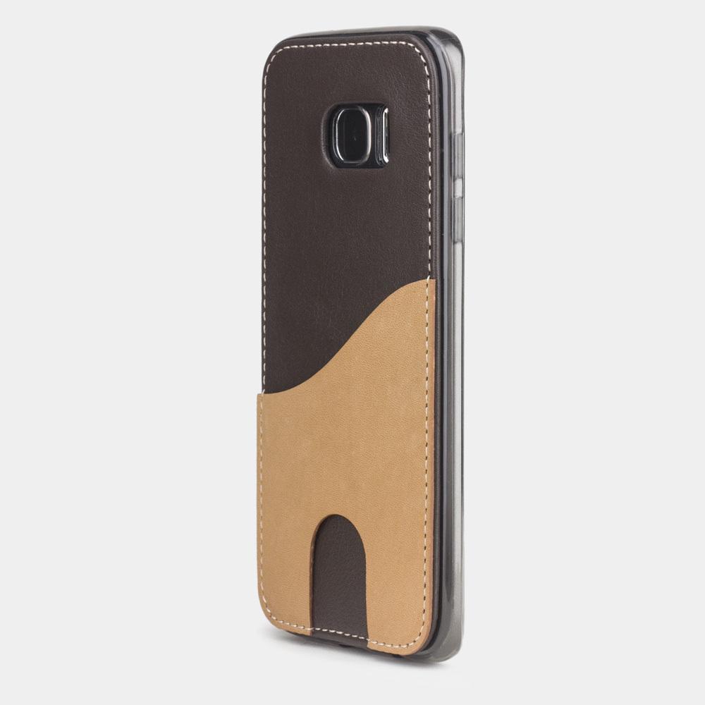 Чехол-накладка Andre для Samsung S7 edge из натуральной кожи теленка, темно-коричневого цвета