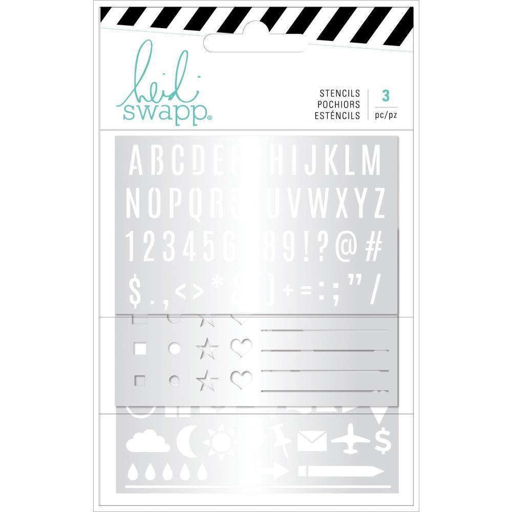 Трафарет металлический для заполнения ежедневника - Heidi Swapp Memory Planner Stencils -Color Fresh- 3шт