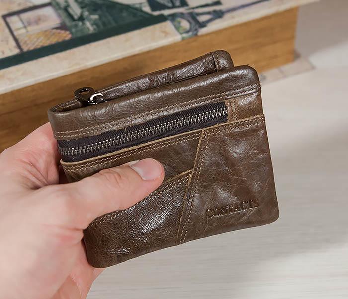 WL258-2 Удобное мужское портмоне из кожи с отделением на молнии фото 06