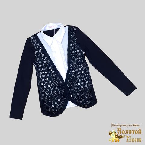 Рубашка-обманка девочке (10-12) 200709-OF-055Z