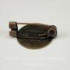 Основа для броши c круглой площадкой 15 мм, 20 мм (цвет - античная бронза)