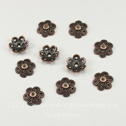 """Шапочка для бусины """"Цветок 6 лепестков"""" (цвет - античная медь) 12,5х4 мм, 10 штук"""