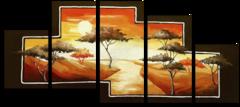 """Модульная картина """"Деревья на закате"""""""