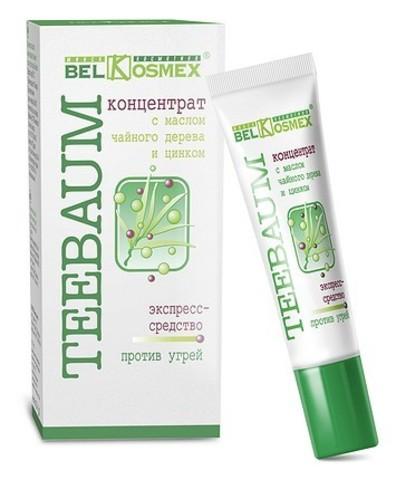 BelKosmex Teebaum Концентрат с маслом чайного дерева и цинком экспресс-средство против угрей 25г
