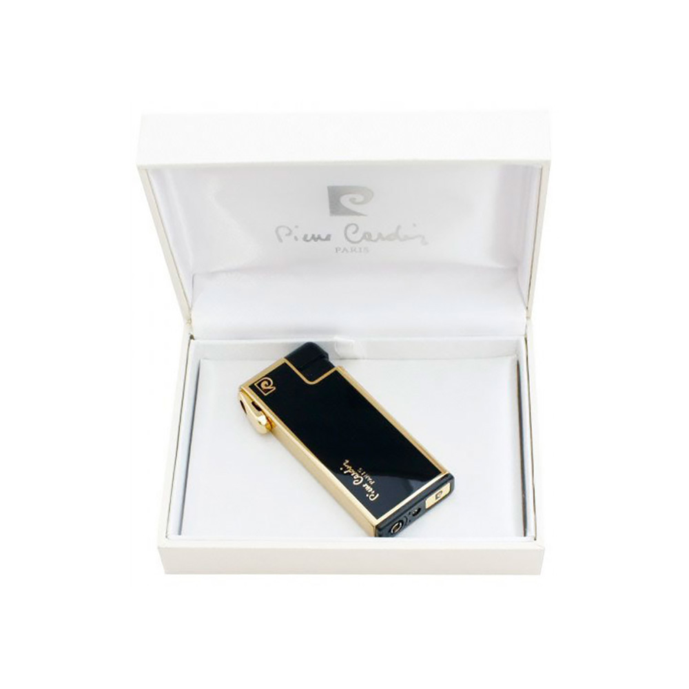 Зажигалка Pierre Cardin газовая пьезо, для трубок, цвет позолота/черный лак, 2,8х1х6,7см