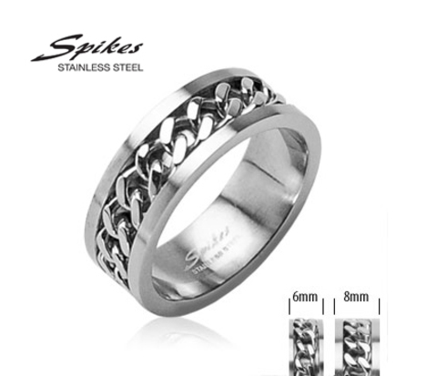 R-H0260 Мужское стальное кольцо &#34Spikes&#34 со вставкой - цепью