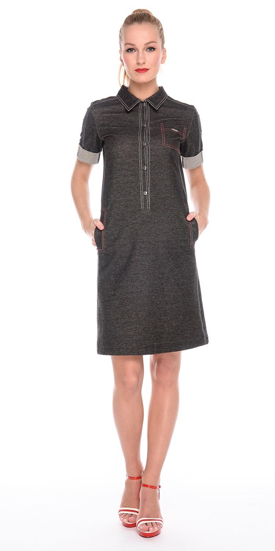 Платье З169-350 - Комфортное платье-поло в джинсовом стиле из плотной хлопковой ткани под джинсу.. Карманы в боковых швах. Силуэт полуприлегающий. Отделка в виде контрастных отстрочек.