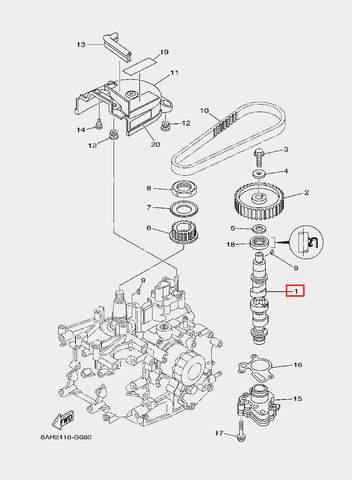Вал распределительный для лодочного мотора F20 Sea-PRO (8-1)