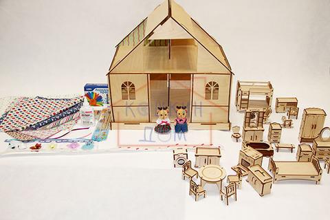 """Кукольный домик из фанеры """"Девичник"""" для раскрашивания ТМ""""Полноцвет"""" с полным набором мебели"""