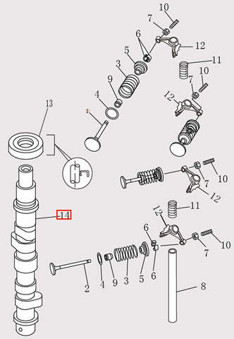 Распредвал для лодочного мотора F9.8 Sea-PRO (4-14)