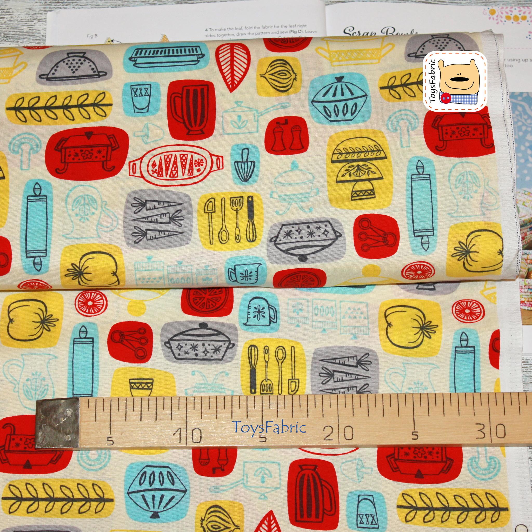 Ткань для пэчворка американский хлопок 20817 (кухня) 45х55см