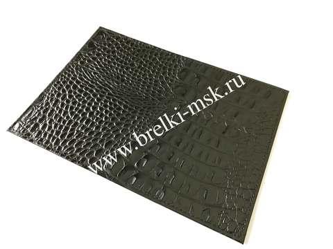 Обложка для паспорта из натуральной кожи под крокодила. Цвет Черный