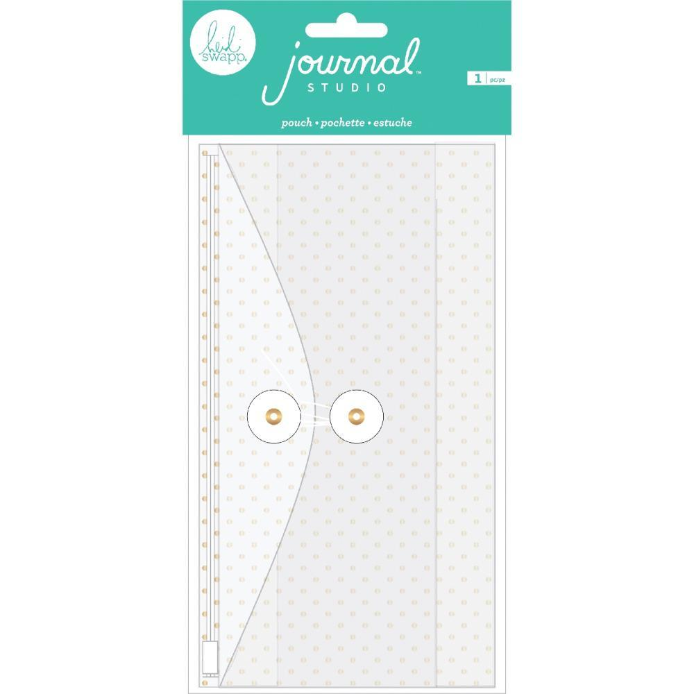 Конверт с кармашками American Crafts Journal Studio Zipper Pouch -Gold Polka Dot By Heidi Swapp -11х21 см