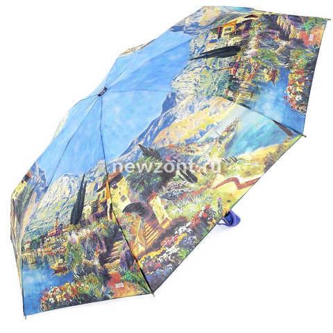 Маленький зонтик женский складной мини Lamberti лазурный берег