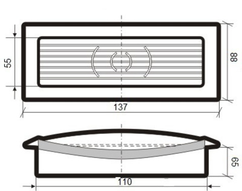 Решетка приточно-вытяжная с фланцем 110х55