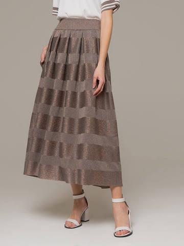 Женская юбка миди серо-коричневого цвета - фото 3