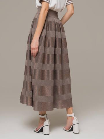 Grey-brown female midi skirt - фото 2