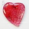 """Подвеска Агат Крэкл (тониров) """"Сердце"""", цвет - розово-красный, 42-47 мм"""