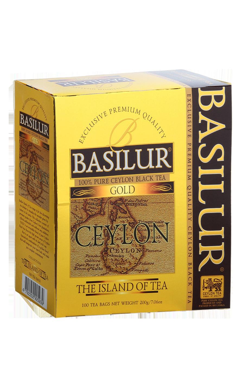 Чай черный Basilur The island of tea Ceylon Gold в пакетиках 100 шт