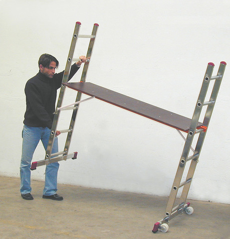 Малые лестничные подмости 2х6, раб. высота 3 и 3,75 м, с парой роликов Krause