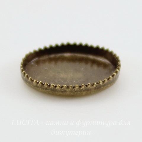 Сеттинг - основа с зубчатым краем для камеи или кабошона 10х8 мм (оксид латуни) ()