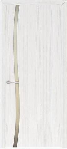 Дверь Океан Буревестник-1 , стекло белое, цвет ясень белый жемчуг, остекленная