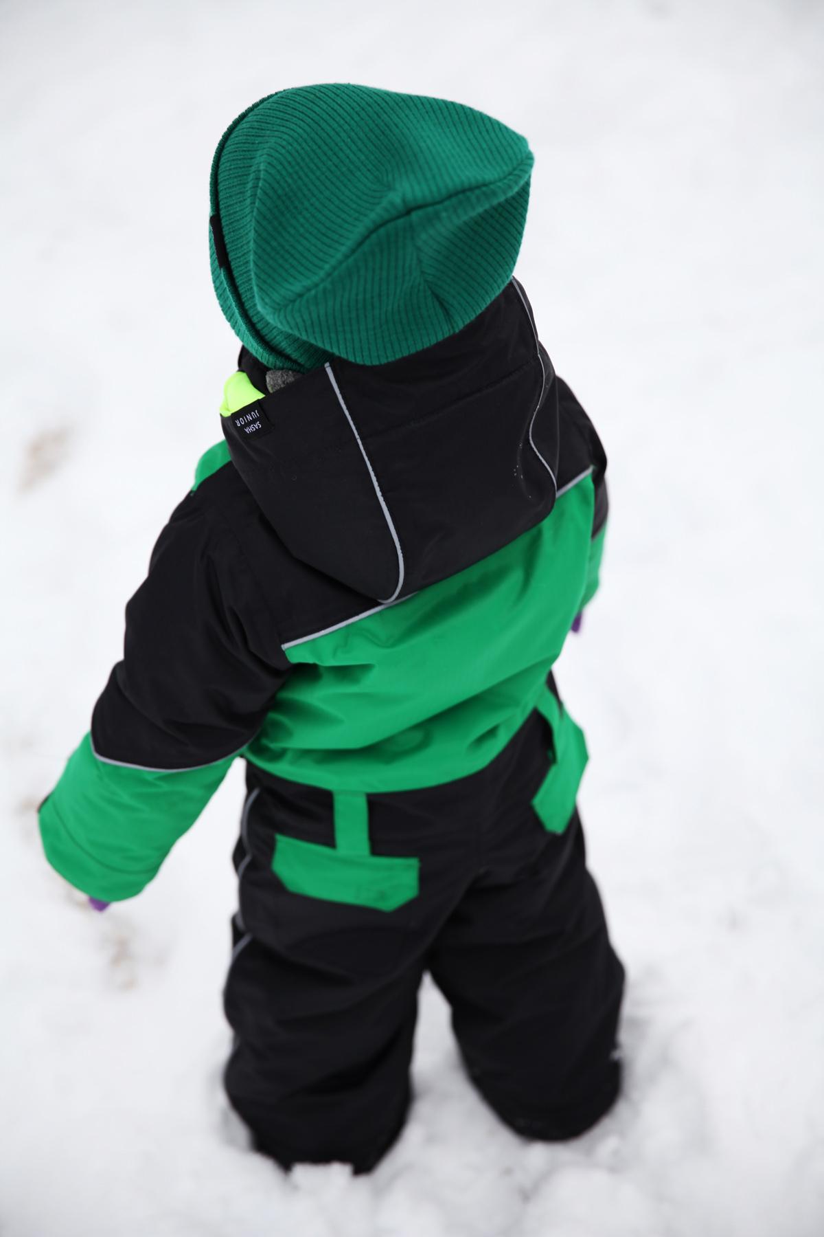 комбинезон детский зимний SASHA JUNIOR черно-зеленый