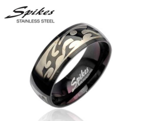 R8020 Черное мужское кольцо с орнаментом (