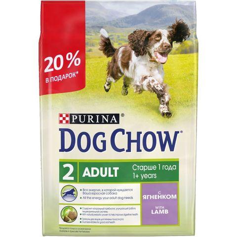 ПРОМО! Purina Dog Chow сухой корм для взрослых собак (ягненок) 2+0,5 кг
