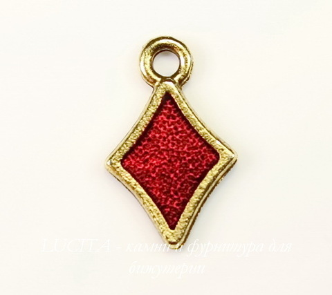 """Подвеска Quest Beads """"Бубновая масть"""" (цвет-античное золото) 16х10 мм"""