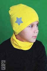 134К Шапка однослойная со звездой светоотражающей и жаккардовой этикеткой. Желтая.
