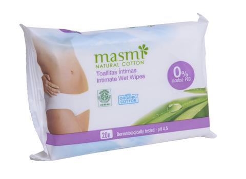 MASMI Органические влажные  салфетки для интимной гигиены,  20 шт