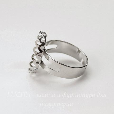 Основа для кольца с сеттингом с ажурным краем для кабошона 18х13 мм (цвет - платина)