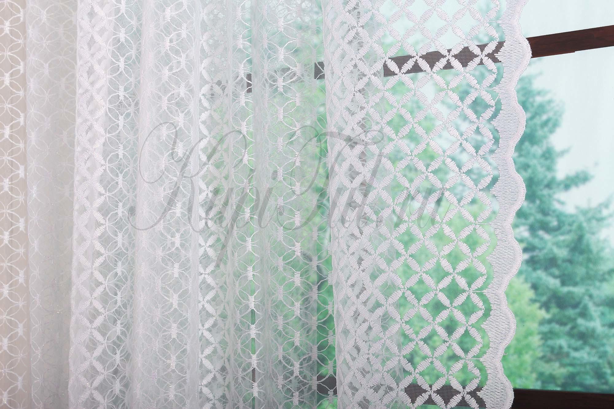Микросетка с вышивкой Марта-T (белая)