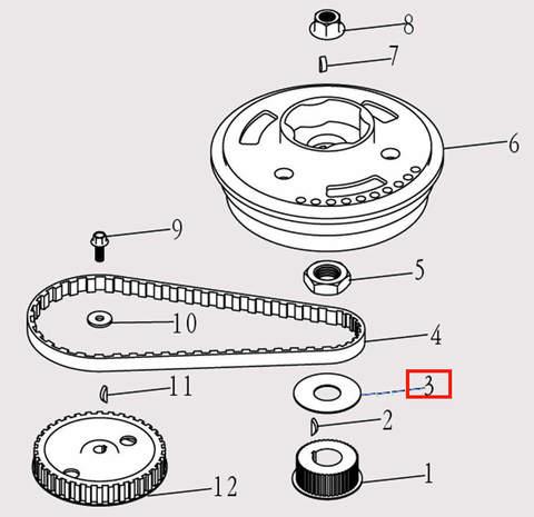 Шайба коленвала Φ24*Φ57*1 для лодочного мотора F9.8 Sea-PRO (5-3)