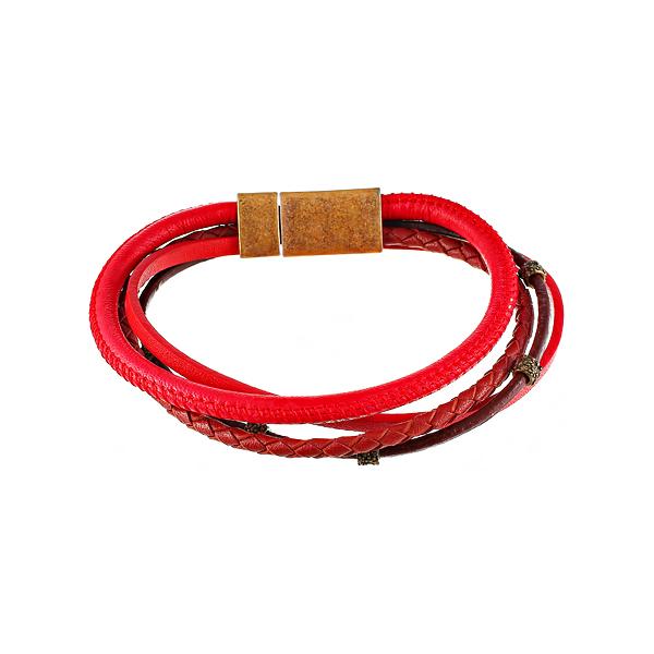 Браслет мужской красный 4в1 из кожи JV TOE-568-60178