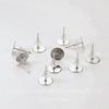 Пуссеты - гвоздики с круглой площадкой 8 мм (цвет - никель)(с заглушками), 5 пар
