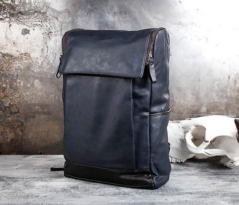 BAG425-3 Мужской рюкзак из кожи синего цвета