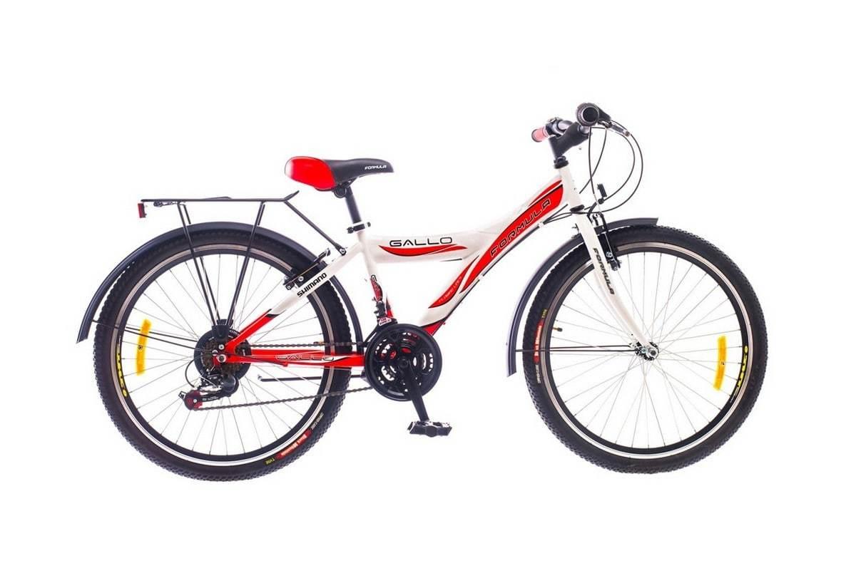 Городской женский подростковый велосипед Формула Галло с колесами 24 дюйма бело-красный
