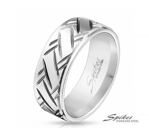R-M3945-8 Широкое мужское кольцо из ювелирной стали,