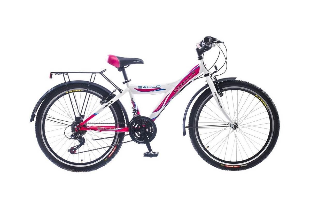 Городской женский подростковый велосипед Формула Галло с колесами 24 дюйма бело-розовый