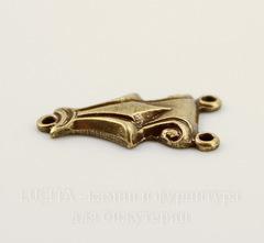 Винтажный декоративный элемент - коннектор Art Deco (1-2) 14х8 мм (оксид латуни)