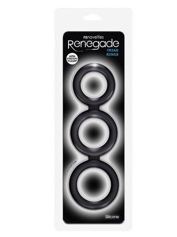 Эрекционные кольца 3 шт спаянные вместе - Renegade - Triad Cock Ring - Black