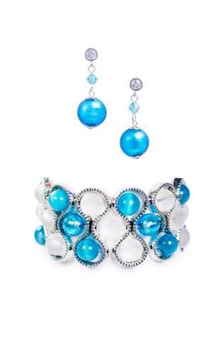 Комплект Satinato Seleste голубой (серьги, браслет)