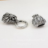 """Замок для шнура 13,5х7 мм из 3х частей """"Черепа"""", 81х25 мм (цвет - античное серебро)"""