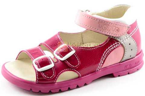 Босоножки Тотто из натуральной кожи с открытым носом для девочек, цвет малиновый розовый. Изображение 1 из 12.