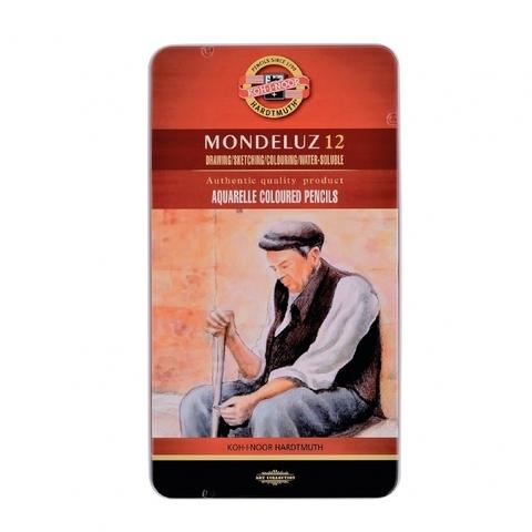 Набор акварельных цветных карандашей Koh-I-Noor 3722 Mondeluz в жестяной упаковке, 12 цветов